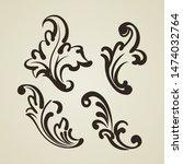 set of decorative vintage... | Shutterstock .eps vector #1474032764