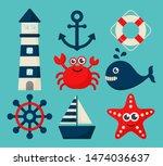 nautical set icons cartoon... | Shutterstock .eps vector #1474036637