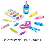 school supplies for painting...   Shutterstock .eps vector #1474050041