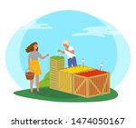 woman buying products in market ... | Shutterstock .eps vector #1474050167