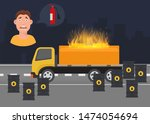 gas leak and fire inflaming...   Shutterstock .eps vector #1474054694