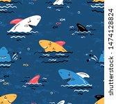 colorful cartoon summer sea... | Shutterstock .eps vector #1474128824