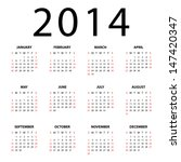Calendar For 2014 On White...