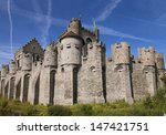Medieval castle  and blue sky in Gent, Belgium  - stock photo