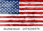 america flag painted on wooden... | Shutterstock . vector #1474234574