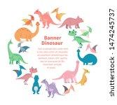 template from cartoon dinosaurs.... | Shutterstock . vector #1474245737