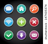 vector round glossy paper icons ...