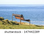 A Old Steel Bench Overlooking...