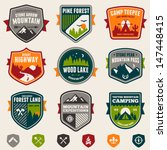 Set of vintage woods camp badges and travel logo emblems