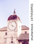 Church of Saint Sebastian in the Center of Trogir, Croatia. The Clock Tower and City Loggia on John Paul II Square - Trogir, Dalmatia, Croatia, Europe