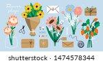 flower bouquets  kraft paper ... | Shutterstock .eps vector #1474578344