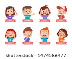 kid pointing body part vector... | Shutterstock .eps vector #1474586477