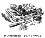 steak bbq drawing. meat hand...   Shutterstock .eps vector #1474679981