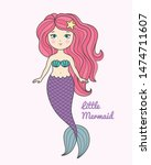 cute little mermaid with pink... | Shutterstock .eps vector #1474711607