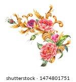 watercolor golden baroque... | Shutterstock . vector #1474801751