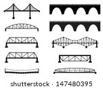 Stock vector set of bridge illustrated on white 147480395