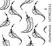 boho pattern curly feather... | Shutterstock .eps vector #1474812611