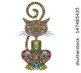 cat psychedelic art design | Shutterstock .eps vector #147485435