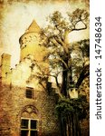 medieval tower -picture in retro style - stock photo