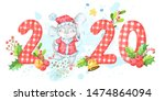 2020 new year and christmas... | Shutterstock . vector #1474864094