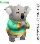 koala  funny animal. 3d vector... | Shutterstock .eps vector #1474885121