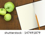 Notebook With Pencil And Apple...