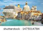 Small photo of Italy beauty, gigantic cruise ship leaving Venice, gondola on Grand canal, cathedral Santa Maria della Salute, Venezia