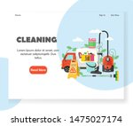 cleaning landing page template. ... | Shutterstock . vector #1475027174