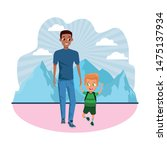 family single father with kid... | Shutterstock .eps vector #1475137934
