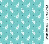 Stock vector seamless pattern with textured cats and hearts on turquoise background 147519965