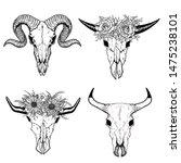 hand drawn buffalo skull native ... | Shutterstock .eps vector #1475238101