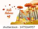 hello  autumn. autumn card.... | Shutterstock .eps vector #1475264957