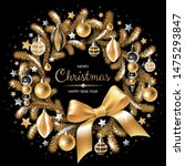 wreath with gold and silver... | Shutterstock .eps vector #1475293847