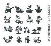 a shovel,apple,arm,basket,basket of fruit,black soil,boy,bucket,car,cottage,crops,cucumber,design,fertilizer,flower