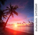 Stock photo view of a beach with palm trees and swing at sunset kuredu island maldives lhaviyani atoll 147535049