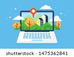 real estate concept with laptop ... | Shutterstock .eps vector #1475362841