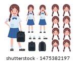 asian student in school uniform.... | Shutterstock .eps vector #1475382197