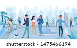 different people walking on the ... | Shutterstock .eps vector #1475466194