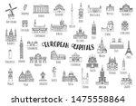 set of 37 hand drawn landmarks... | Shutterstock .eps vector #1475558864