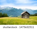 little shed on pasture field in ... | Shutterstock . vector #1475632511