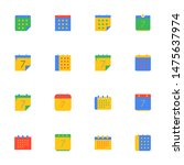 16 flat calendar icons pack in...