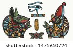 ancient egypt. tattoo... | Shutterstock .eps vector #1475650724