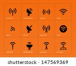 radio tower icons on orange... | Shutterstock .eps vector #147569369