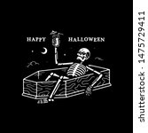 resting skeleton with cocktail...   Shutterstock . vector #1475729411