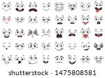Cartoon faces. Expressive eyes and mouth, smiling, crying and surprised character face expressions. Caricature comic emotions or emoticon doodle. Isolated vector illustration icons set