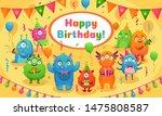 happy birthday monsters. kids... | Shutterstock .eps vector #1475808587