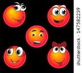 blue smiles character set ...   Shutterstock .eps vector #147582239