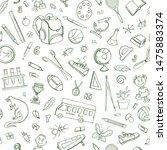 seamless school doodle pattern... | Shutterstock .eps vector #1475883374