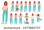 set of character a young woman... | Shutterstock .eps vector #1475883737