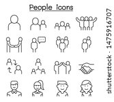 people icon set in thin line... | Shutterstock .eps vector #1475916707